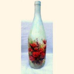 Sticla decorata cu maci