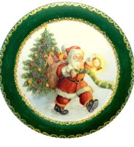 Decoratiune-tablou  Mos Craciun cu sacul de daruri