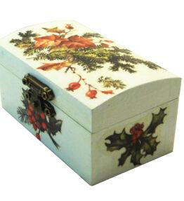 Cutie de bijuterii decorata cu Craciunita si vasc